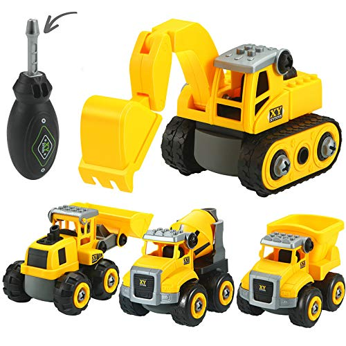 4 in 1 Take Apart Truck Building Vehicle Play, Truck Toys, Learning Gifts for 3 4 5 6 Year Olds, Kids, Toddlers, Boys, Children