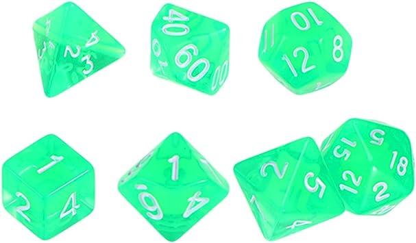 Toyvian 7PCS Dados DND Dados acrílicos Polihédricos Dados Semi-translúcidos Set para Dungeons and Dragons Juegos de Mesa DND RPG MTG (Verde): Amazon.es: Juguetes y juegos