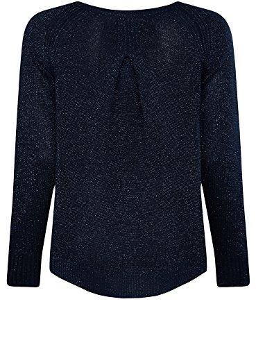 oodji Collection Mujer Jersey con Lúrex y Espalda Larga Azul (7900X)