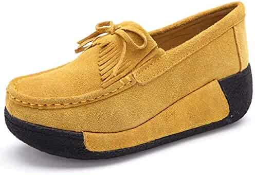 Mashiaoyi Womens Casual Hollow Flatform Inner-Increaser Lace Loafers