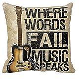 Forfar 1pc Pillow Case Vintage Cushion Cover Guitar Pillowcase Where Words Fall Music Speaks Quote Throw 18x18