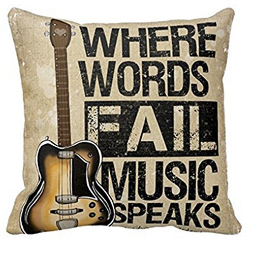 Forfar 1pc Pillow Case Vintage Cushion Cover Guitar Pillowcase Where Words Fall Music Speaks Quote Throw 18x18