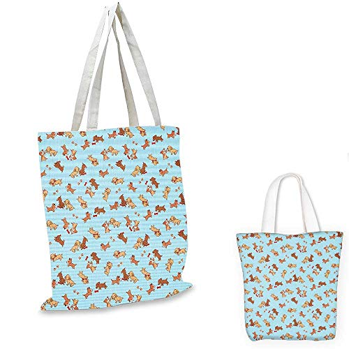 Dog ultralight shopping bag Checkered Square Pattern Background Playful Puppies Paw Print Golden Retriever Breed canvas tote bagMulticolor. 12