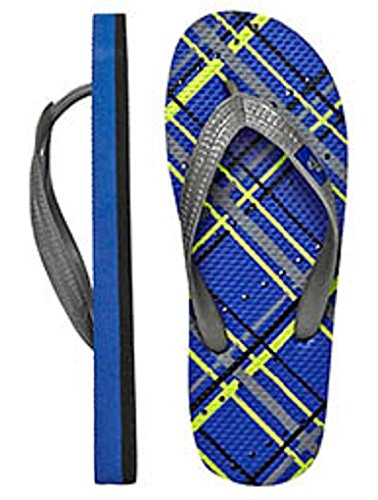 Showaflops Mens Antimicrobial Shower & Water Sandals for Pool, Beach, Dorm and Gym - Blue Plaid