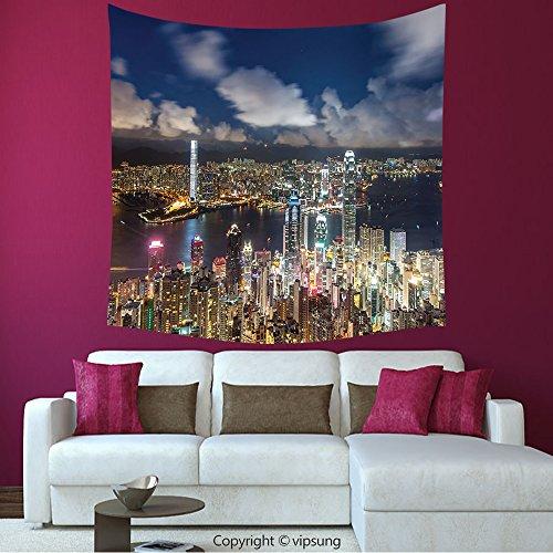 House Decor Square Tapestry-Fabric Night View Hong Kong Victoria Harbor Business Financial District Cityscape Print Decores Multi Color_Wall Hanging For Bedroom Living Room (Financial District Halloween)
