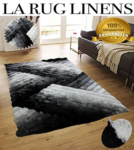 Shimmer 8x10 Shag Modern Contemporary Black White Silver Gray Titanium Rug Carpet Area Rug Simple Lines Design Viscose Yarns Hand Tufted Two Toned 3D Pattern Bedroom Living Room SAD 396 Black White (Shag Rugs On Sale)