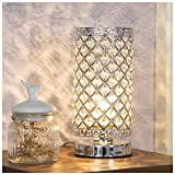 GLANZHAUS Elegant Decorative Nightstand Silver Crystal Table Lamp, Bedside Desk Lamp with Crystal Lamp Shade for Bedroom Living Room Coffee Table Bookcase