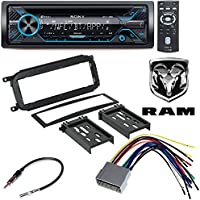 Sony 220W Amp Car Stereo CD MP3 iPod USB iPhone AUX EQ Bluetooth CAR RADIO STEREO CD PLAYER DASH INSTALL MOUNTING TRIM BEZEL PANEL KIT + HARNESS FOR DODGE CHRYSLER JEEP 2002 - 2007
