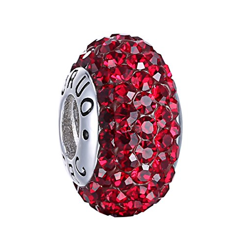 Boruo 925 Sterling Silver Czech Crystal Garnet Glass Ball Charms Beads Spacers January Birthstone Top QUality Threaded Core Charm Fit All Bracelets. - Charm January