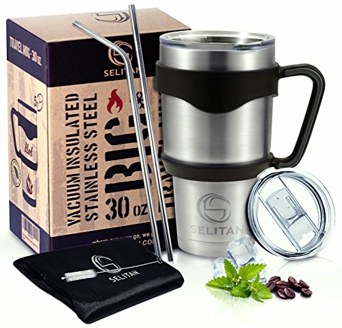 Stainless Steel Tumbler 30 Oz - Double Wall Vacuum Insulated Travel Mug with Handle, Two Tritan Lids, Two Straws, Cleaning Brush & Storage Bag. Keep Beverages Hot or Cold. by SELITAN