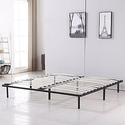 Bestmart INC Platform Metal Bed Frame Poplar Wooden Slat Support Easy To Assemble