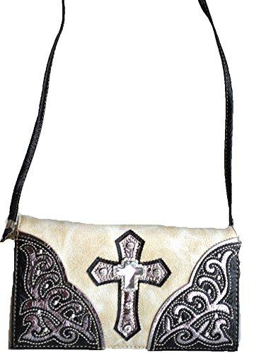 Beige Messenger Out Body Cut Cross Satchel Purse Floral Bag Rhinestone SIw0zqxa5S