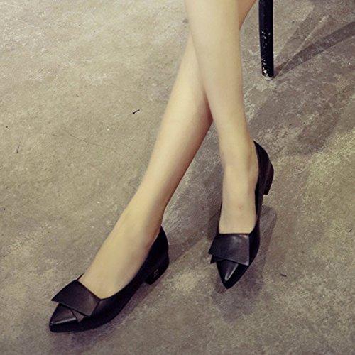Minetom Mujer Verano Otoño Moda Zapatos Del Barco Apuntado Zapatos Con Tacón Grueso Negro