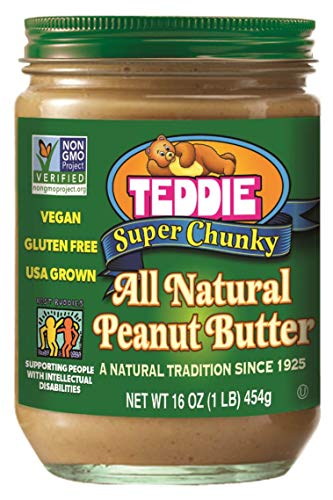 (Teddie All Natural Peanut Butter, Super Chunky, 16-Ounce Jar (Pack of 4))