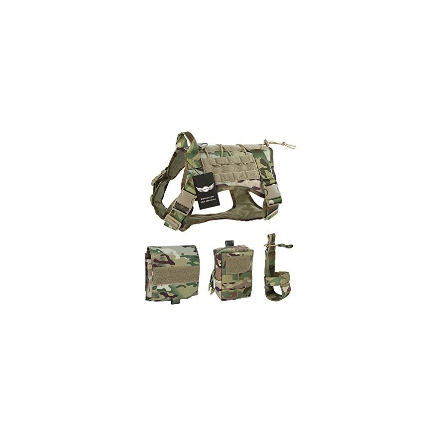 AegisTac Tactical Service Training Dog Harness Vest Molle Nylon Outdoor Adventure Hiking Hunting Pet Vest Packs Coat with Handle