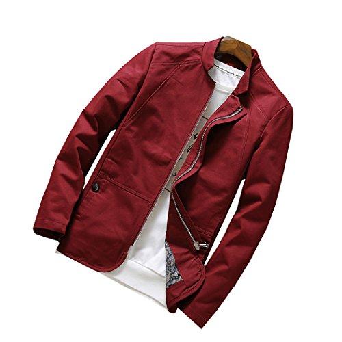 Real Spark(TM) Men Outerwear Stand Collar Cotton Lightweight Jackets & Coats Sportswear Red XL