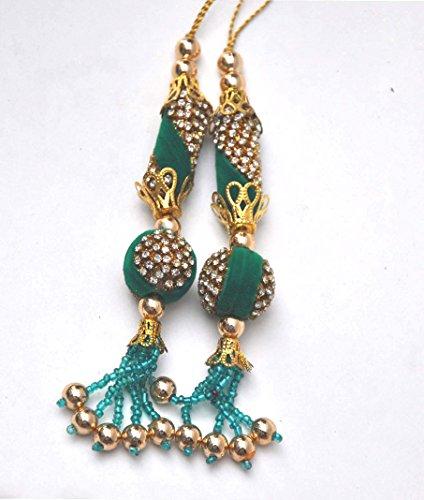 Bollywood Green Gold Tassel, Gold Rhinestone, Green Metal Bridal Tassel, Gold Tassel, DIY Brooch Bouquet, Bridal Tassels, Gold Rhinestone Tassel ()