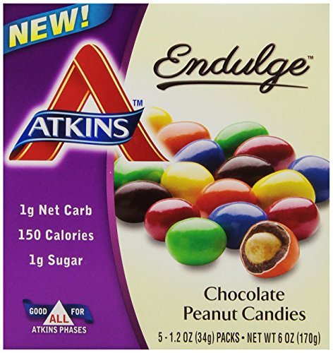 Atkins Chocolate Peanut Candies, 1.2oz Bags, 5 Count (Pack of 12) by Atkins (Image #1)