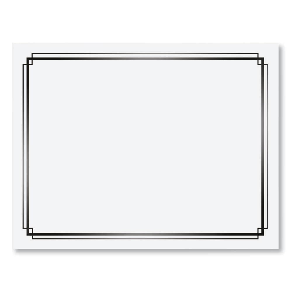 White with Black Foil Border Specialty Certificates, 8.5 inches x 11 inches, 50 Sheet Count