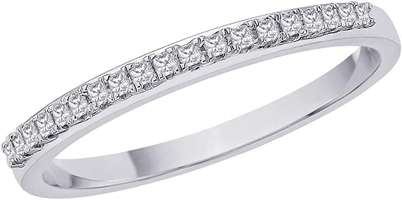 3 Diamond Wedding Band in Sterling Silver Size-6.75 1//10 cttw, G-H,I2-I3