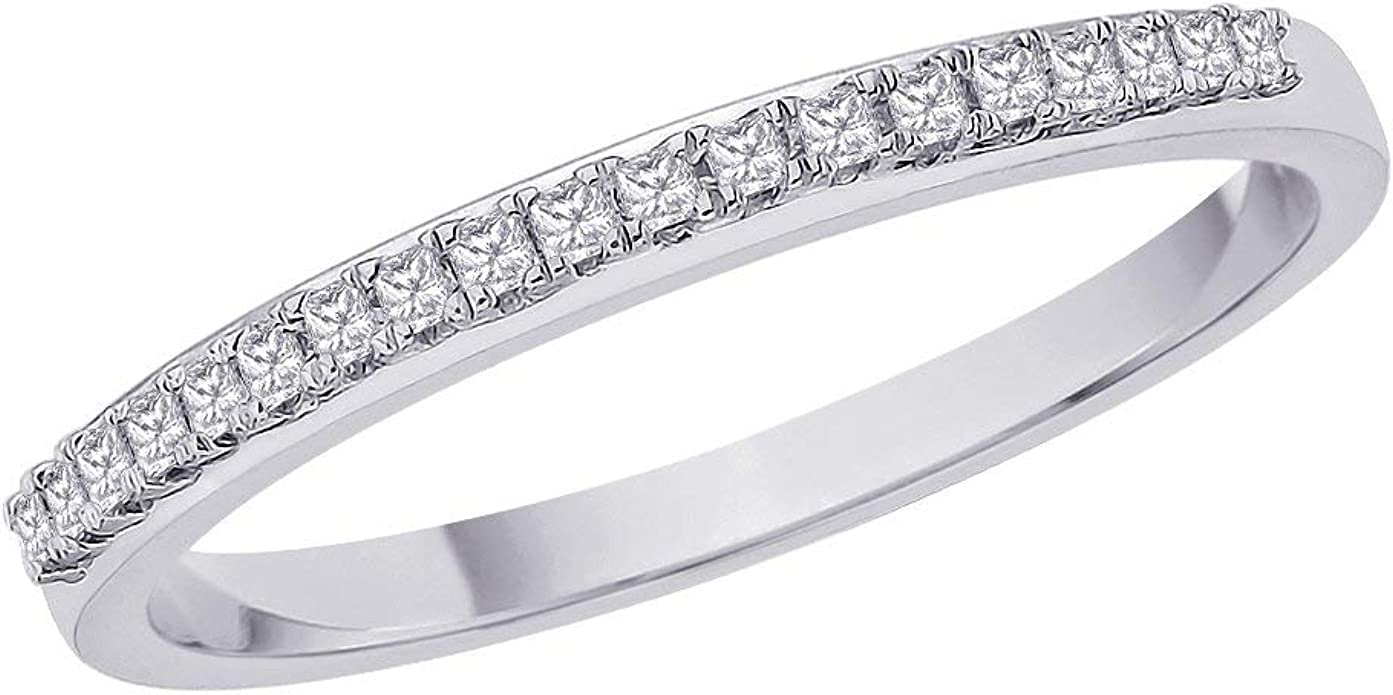 1//6 cttw, Diamond Wedding Band in Sterling Silver Size-5 G-H,I2-I3