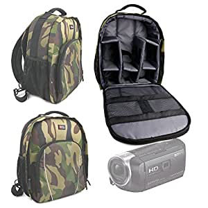 DURAGADGET Premium Quality, Camouflage Water-Resistant Backpack with Customizable Interior & Raincover for Sony HDR-PJ530 / HDR-PJ330 / HDR-CX240 Handycams / Sony HDR-MV1B Full HD Music Video Recorder