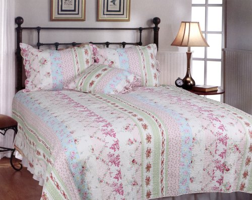 [Pink Rosary] 100% Cotton 3PC Classic Floral Vermicelli-Quilted Quilt Set (Full/Queen Size) from Blancho Quilt