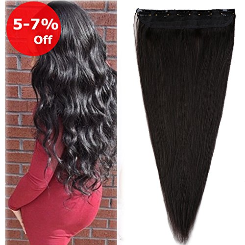 Clip in Human Hair Extension Offf Black One piece 20 inch On Sale Soft Long Straight Remy Hair Weft Extension Fast Shipping 5 Clips 50g (20'' Natural Black #1B)