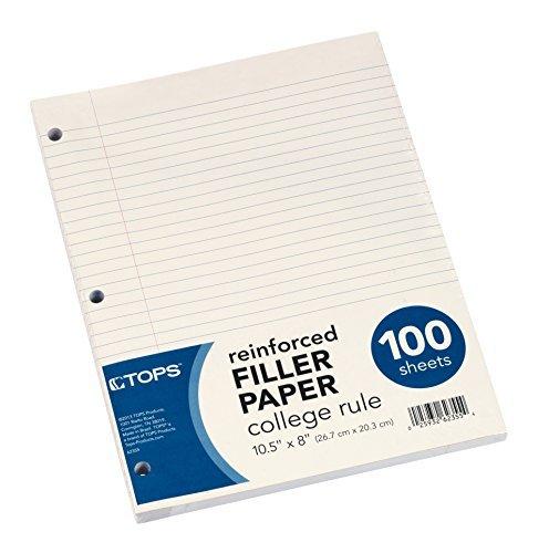 TOPS Reinforced Filler Paper, College Rule, 10-1/2 x 8