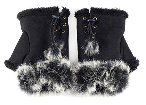 Sudawave Women Teen Classic Winter Warm Rabbit Fur Hands Wrist Fingerless Gloves (Black)