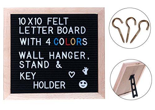 black felt changeable letter board oak wood frame 720 letters in 4 colors letter organizer. Black Bedroom Furniture Sets. Home Design Ideas