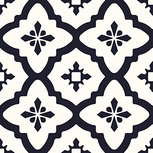 FloorPops FP2480 Comet Peel & Stick Tiles Floor Decal, Black