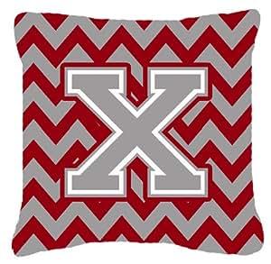 """Caroline's Treasures CJ1043-XPW1414 Letter X Chevron Crimson and Grey Fabric Decorative Pillow, 14"""" H x 14"""" W, Multicolor"""