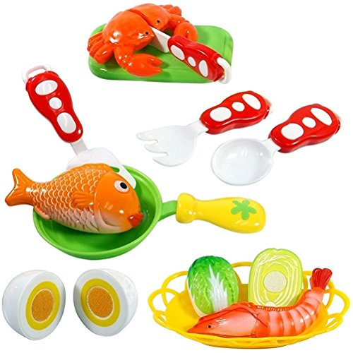 FUNERICA Pretend Cutting Play Food Kids Bright Realistic Looking Eggs, Fish, Fake Food Play Vegetable, Toy Pot, Toy Kitchen Knife Cutting Board (Make Fake Food)