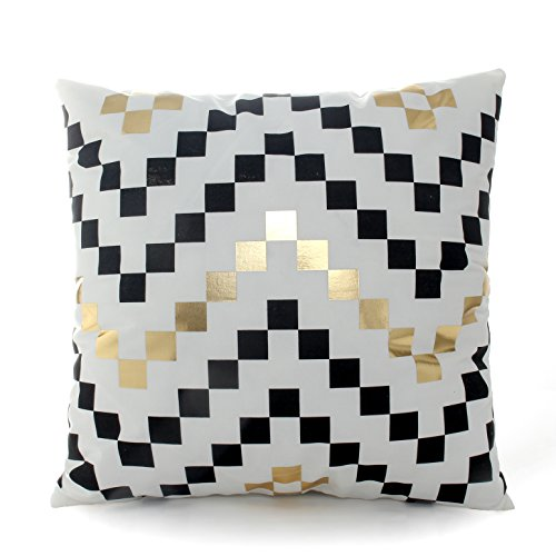 (Kingla Home Gold and Black Plaid Decorative Throw Pillow Covers 18 x 18 Inch Sofa Square Cushion Covers)