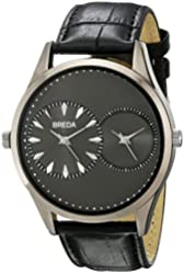 Breda Men's 1681C Metal Watch with Croc-Embossed Leather Band