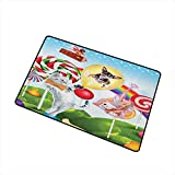 Kids Universal Door mat Colorful Fantasy Land Rainbow Candy Trees Cat Dog Fairy Girl Boy Flying in Suitcase Door mat Floor Decoration W15.7 x L23.6 Inch Multicolor