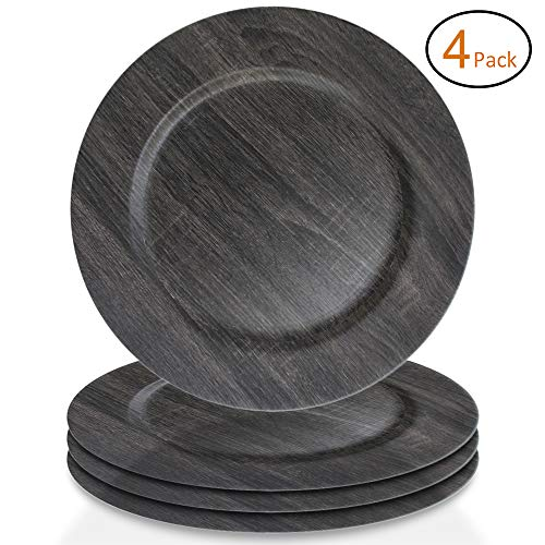 (ChargeIt by Jay 1270397-4 Poplar Set of 4 Faux Wood Round Melamine Charger Plates 13x13