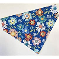 Summer Flowers Dog Bandana Scarf-no tie-slides over collar-Medium or Large-Handmade