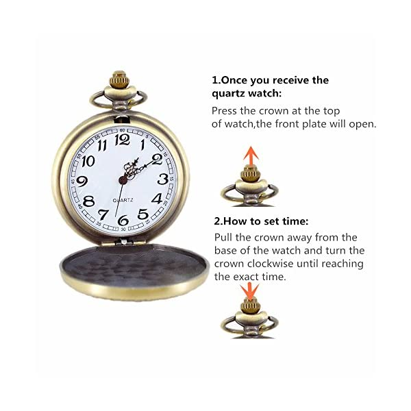 Classic Mens Smooth Vintage Steel Mens pocket watch with Gift Chain for Xmas Fathers Day Gift 5