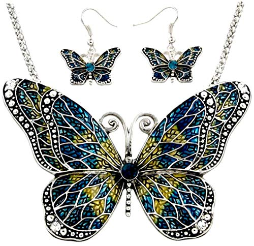 DianaL Boutique Amazing Exra Large Statement Butterfly Necklace and Earrings Set Blue Rhinestones Gift Boxed Fashion ()