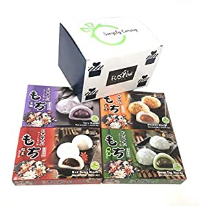 Japanese Mochi Variety Pack: Red Bean, Taro, Green Tea, and Peanut Royal Family Total 29.6oz - Packed in Fusion Select Gift Box