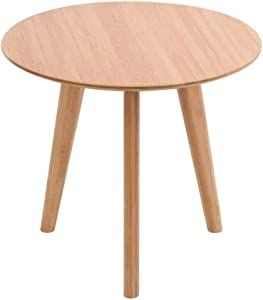 Palm Kloset Round Side Table End Table Wood Coffee Tea Table Living Room Home Mini Furniture