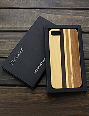 iPhone 8 Wood Case,iPhone 7 Case,Unique Natural Real Wood Stripe Shockproof Drop proof Slim Bumper Protective Cover for Apple iPhone 7/8