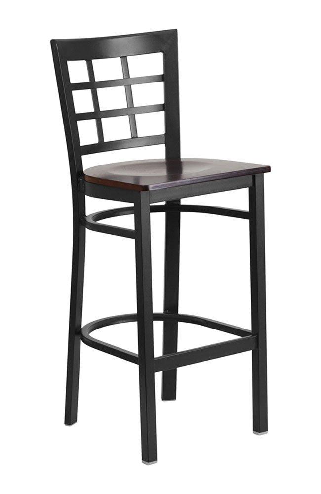 Offex Black Window Back Metal Restaurant Barstool with Walnut Wood Seat