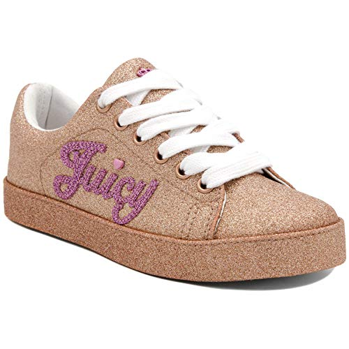 Juicy Couture Girls Fashion Low Top Sneakers Kids Lace-up Calistoga Rose Gold 2 Lil - Couture Shoes