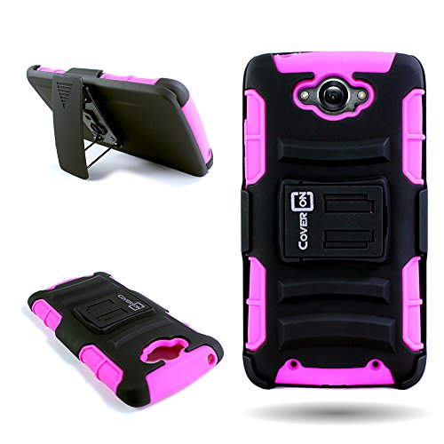 for Motorola Droid Turbo XT1254 by CoverON Heavy Duty Shock-Proof Armor Case with Kickstand and Swivel Belt Clip Holster (Not Compatible w/Ballistic Nylon) - Hot Pink Silicone + Black Plastic