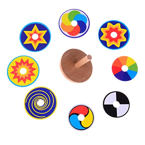 MAYATOWN 2 PCS Wooden Spinning Top + 16 PCS Multicolored Cards, Beech Wood Spinning Top Toy Handmade Smooth Kindergarten Toys Fun Gift for for Kids, Party Bag Fillers ()