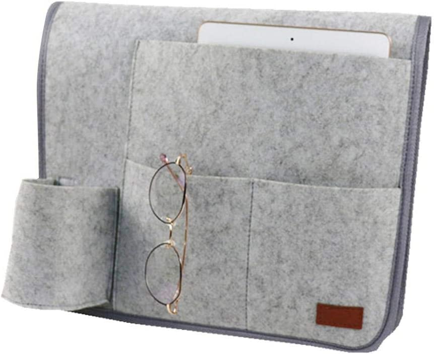 Book Glasses Perfect For Bunk Beds or Sofa Remote Grey Pen Felt Bedside Storage Pocket Anti-slip Storage Organizer Inside with Small Pockets for Phone amazingfr Hanging Organizer Bag