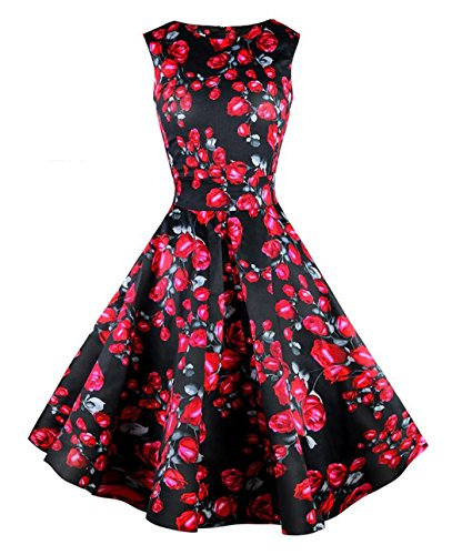 CHIC.U 1950's Vintage Rose Printed Spring Party Picnic Dress Party Cocktail Dress,Black,L (Printed 1950's Vintage)